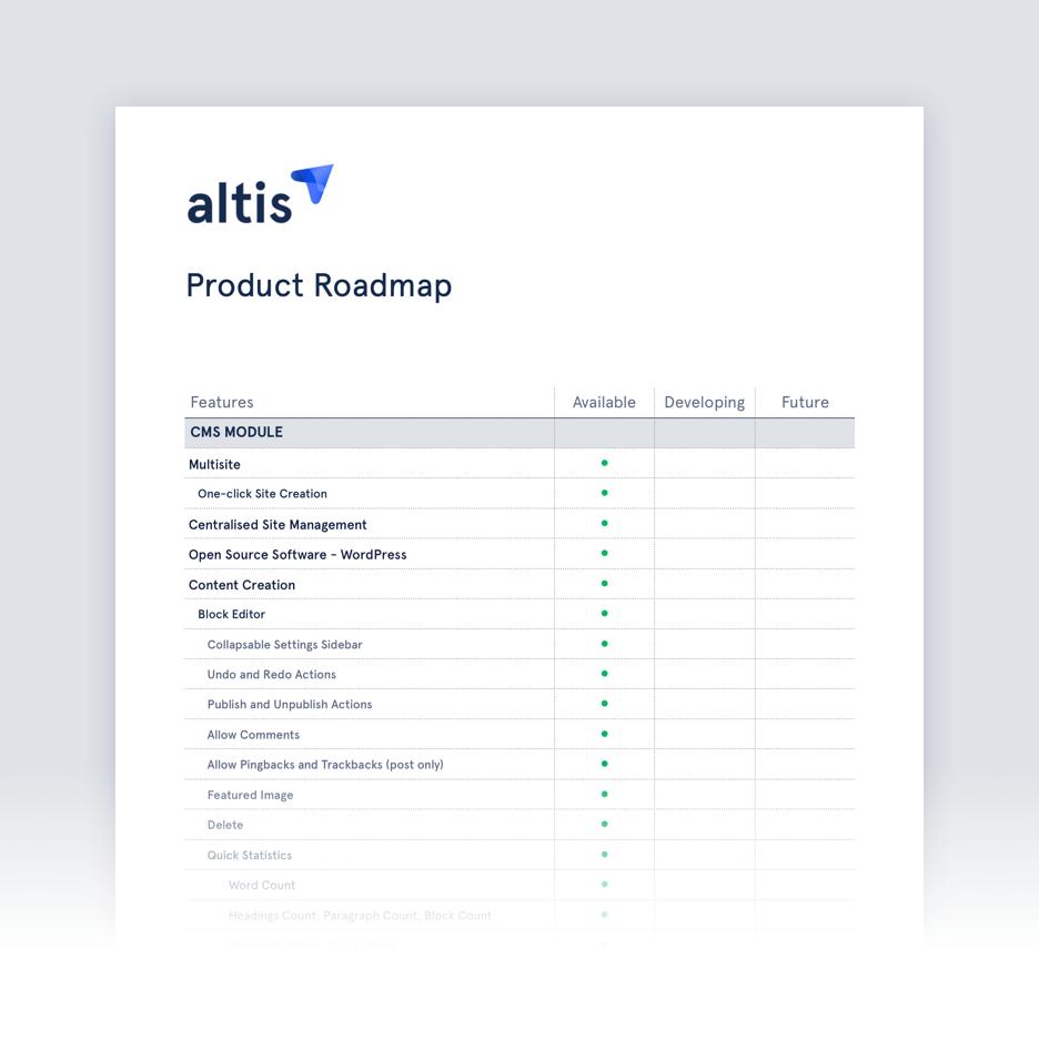Altis製品ロードマップ