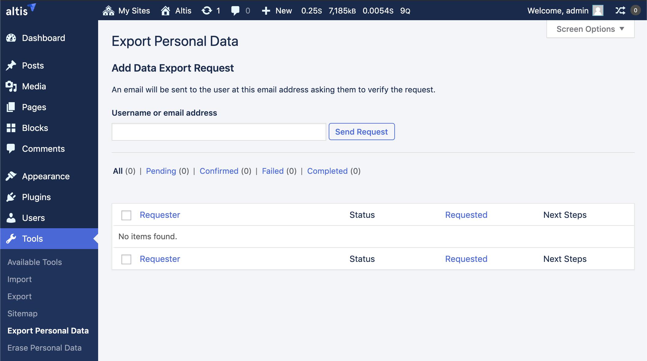 Personal Data Export admin screen