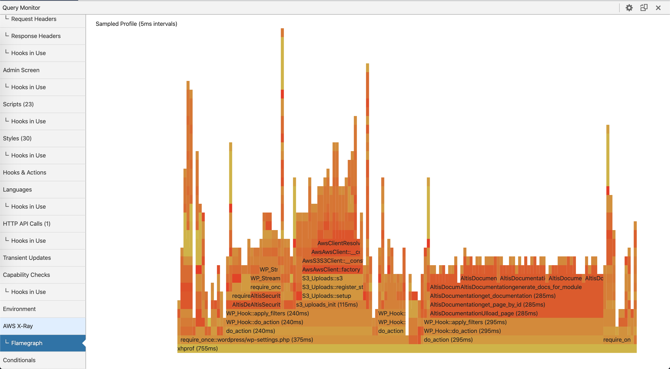 Example Flamegraph showing function calls and their execution times