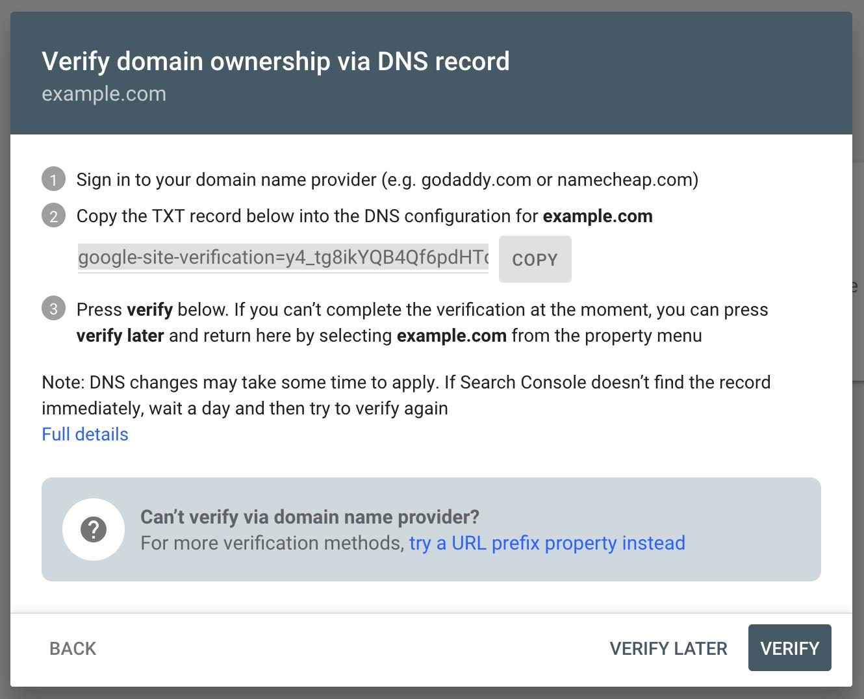 Screenshot of DNS record window
