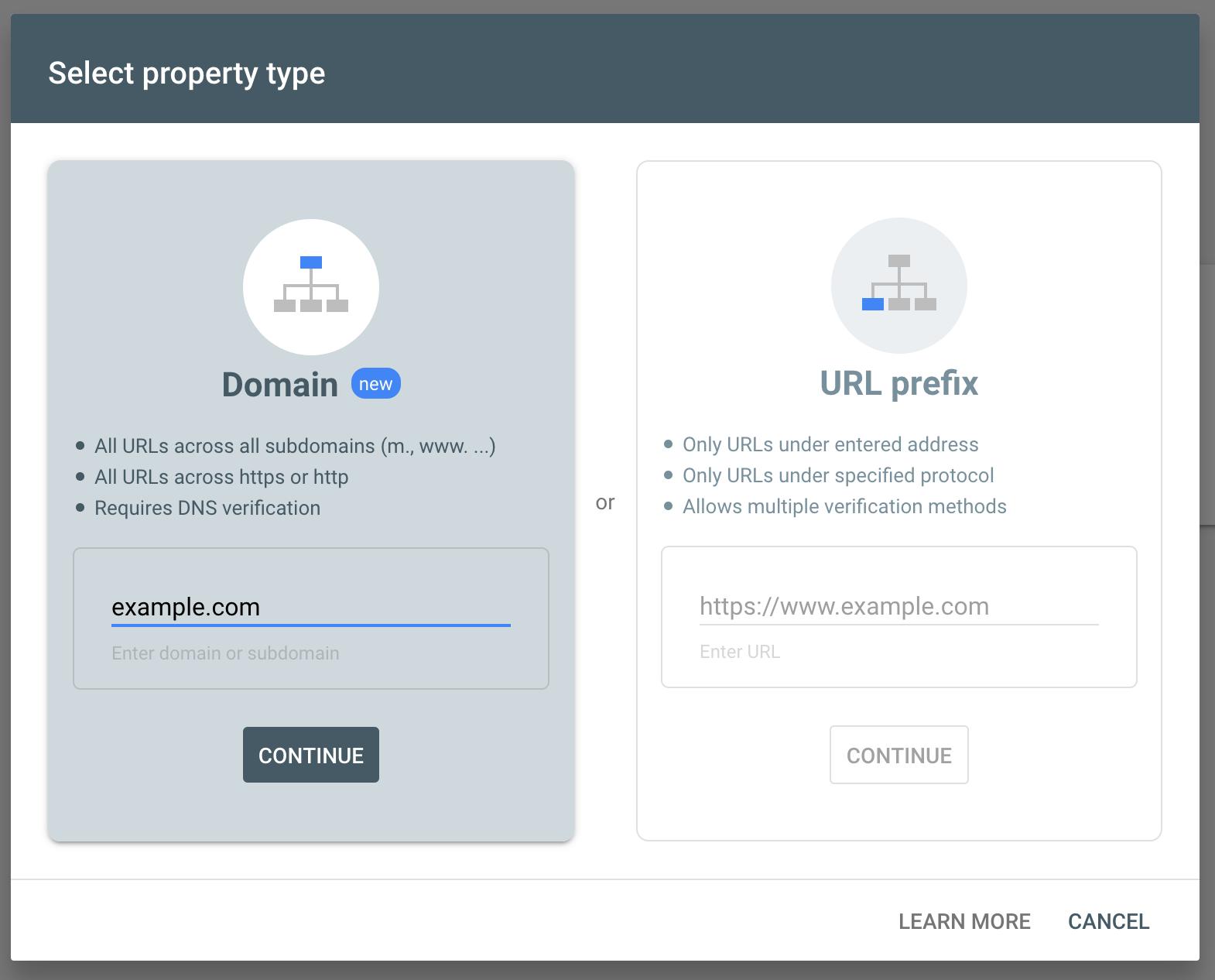 Screenshot of verification type window